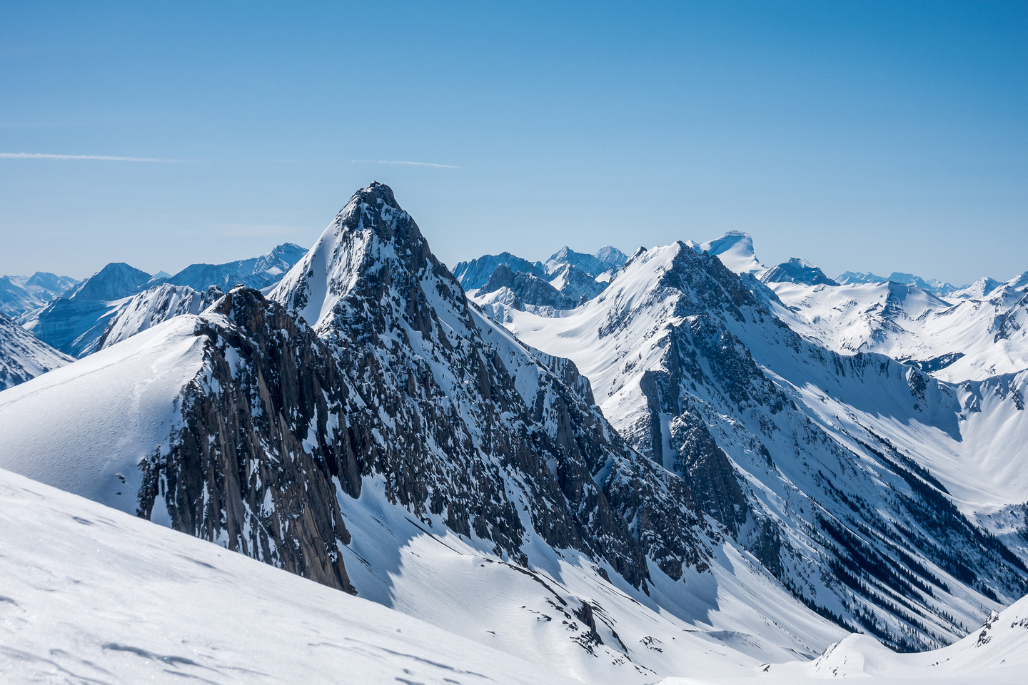 Haig Ridge in front of Mount Maude with Mount Beatty and Joffre at right.