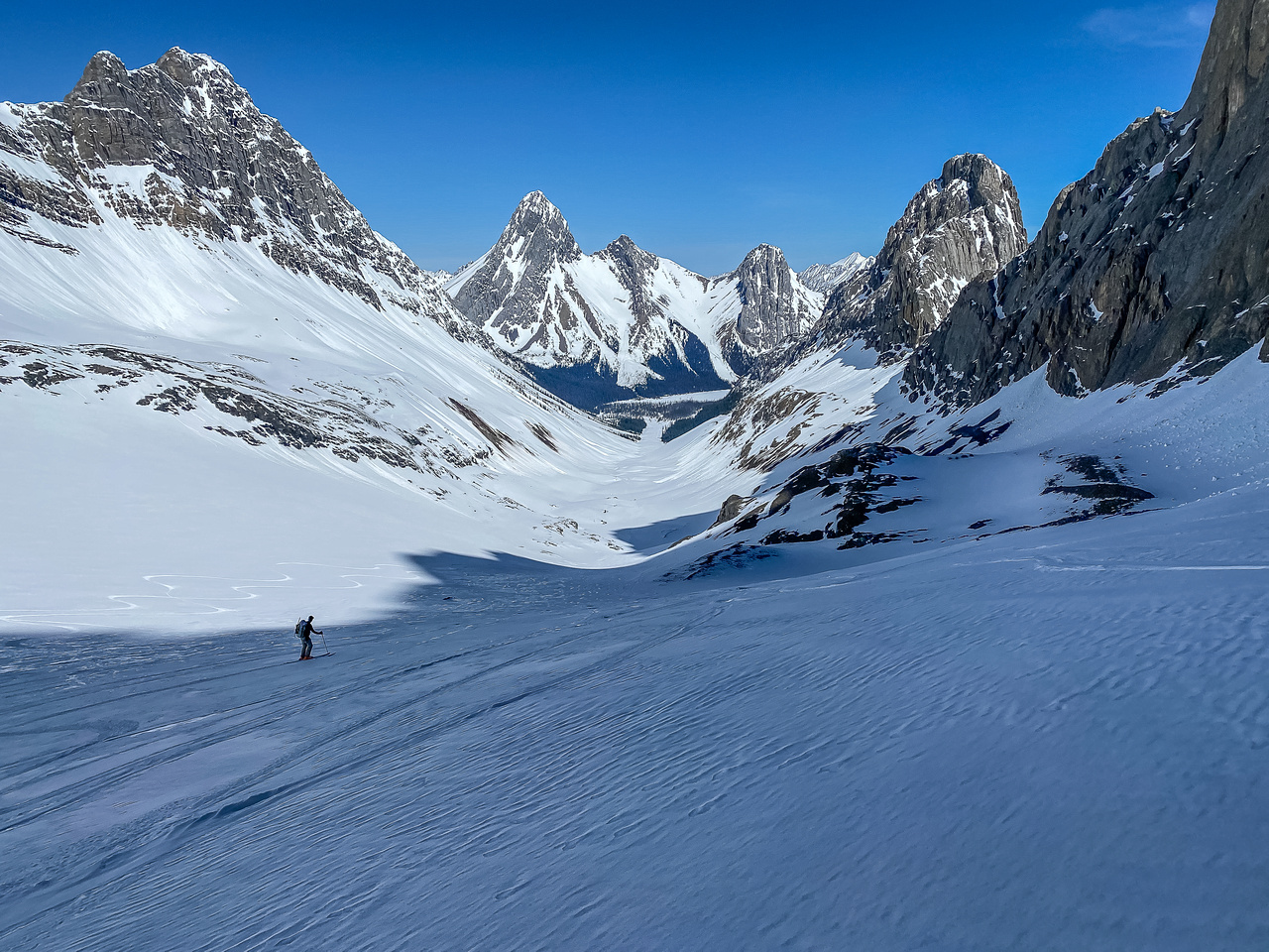 Skiing down the Robertson Glacier on a mix of good and terrible Spring snow.