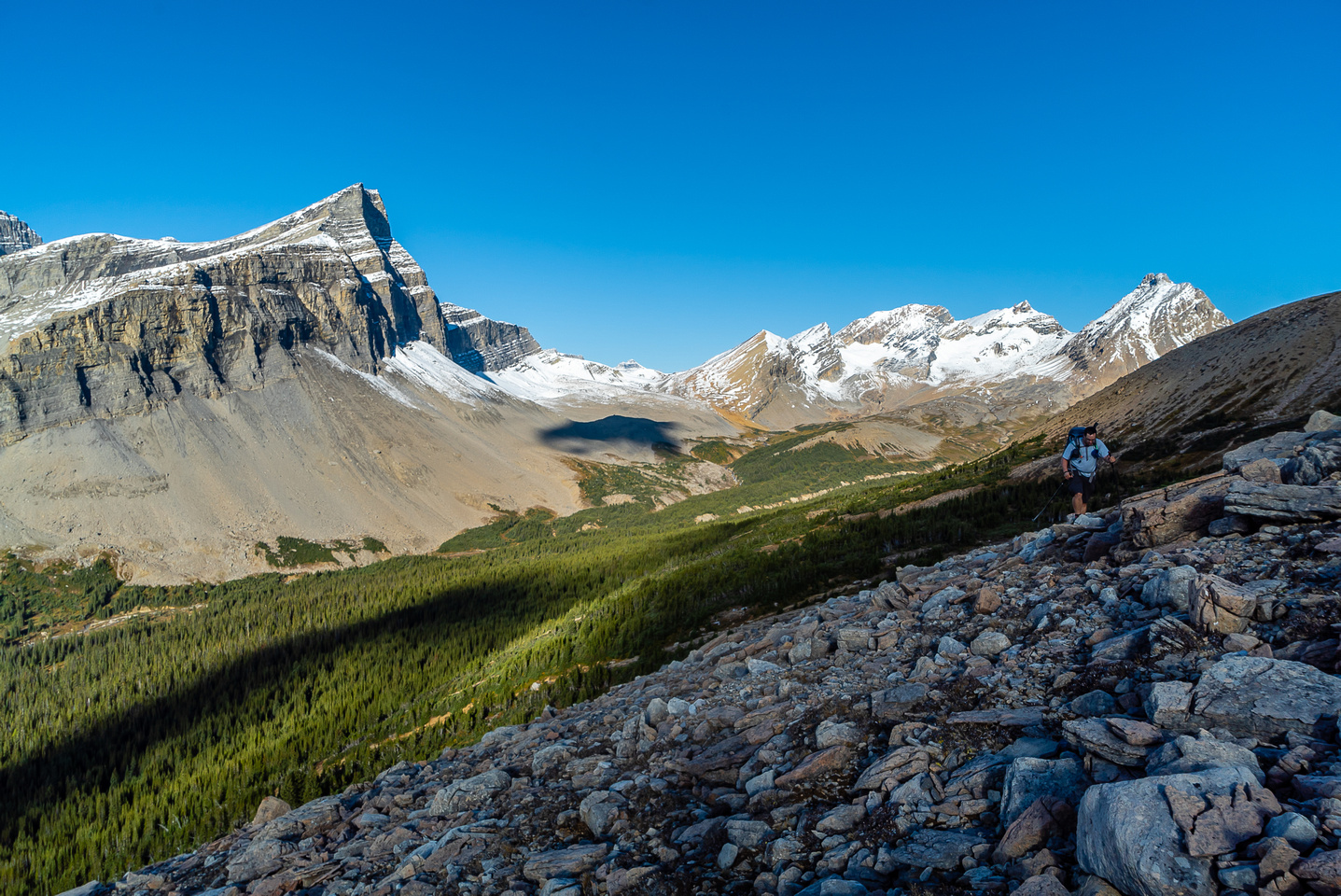 Eric comes along behind me with Cataract Pass at distant center.