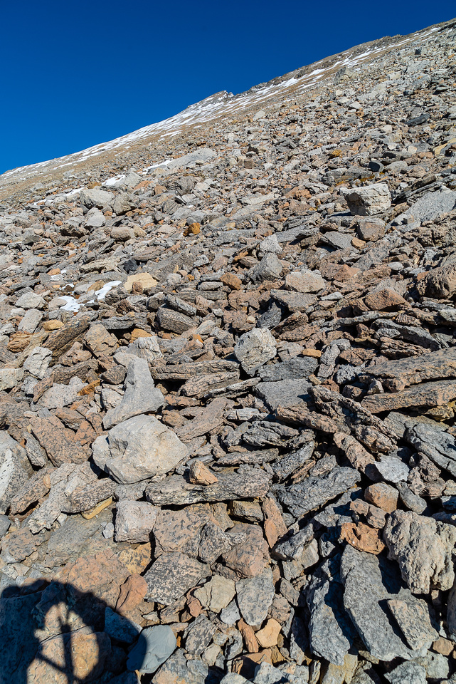 Looking up at the trudge to the summit after finally crossing numerous gullies and traversing kilometers along the base of Stewart.