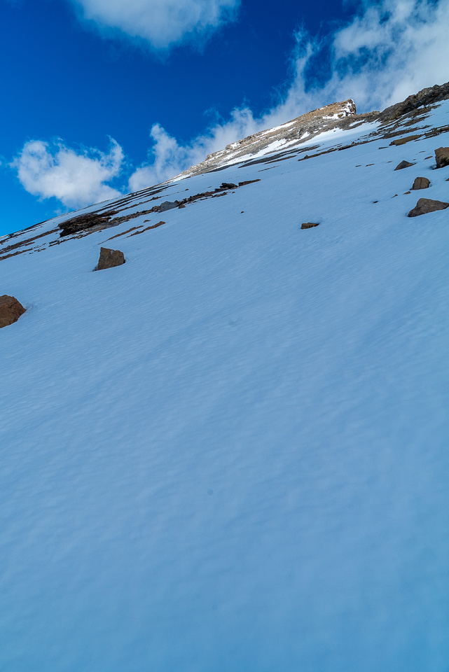 I took advantage of as much snow as I could for the ascent.