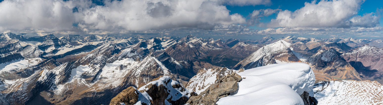 Views north over Cataract Pass (L) include the Columbia Icefields (L), Sunwapta and Willis.