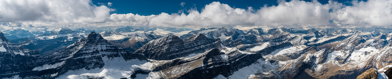 Views to the Columbia Icefield over Cataract Pass.