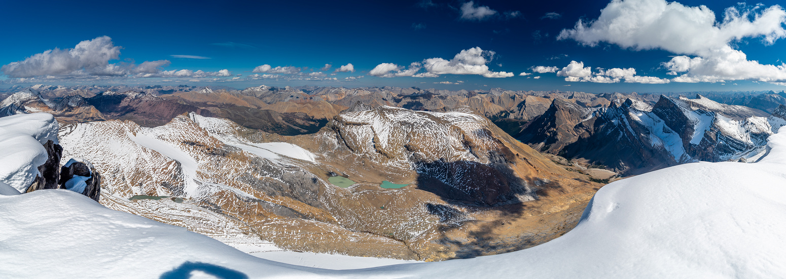 Views east over the sublime hanging valley towards Obstruction, Hangman and Cloister (R).