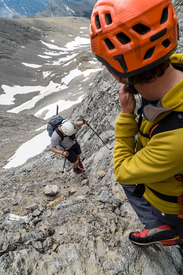 We made our way over to an obvious scree / slab gully leading to the west ridge high above.