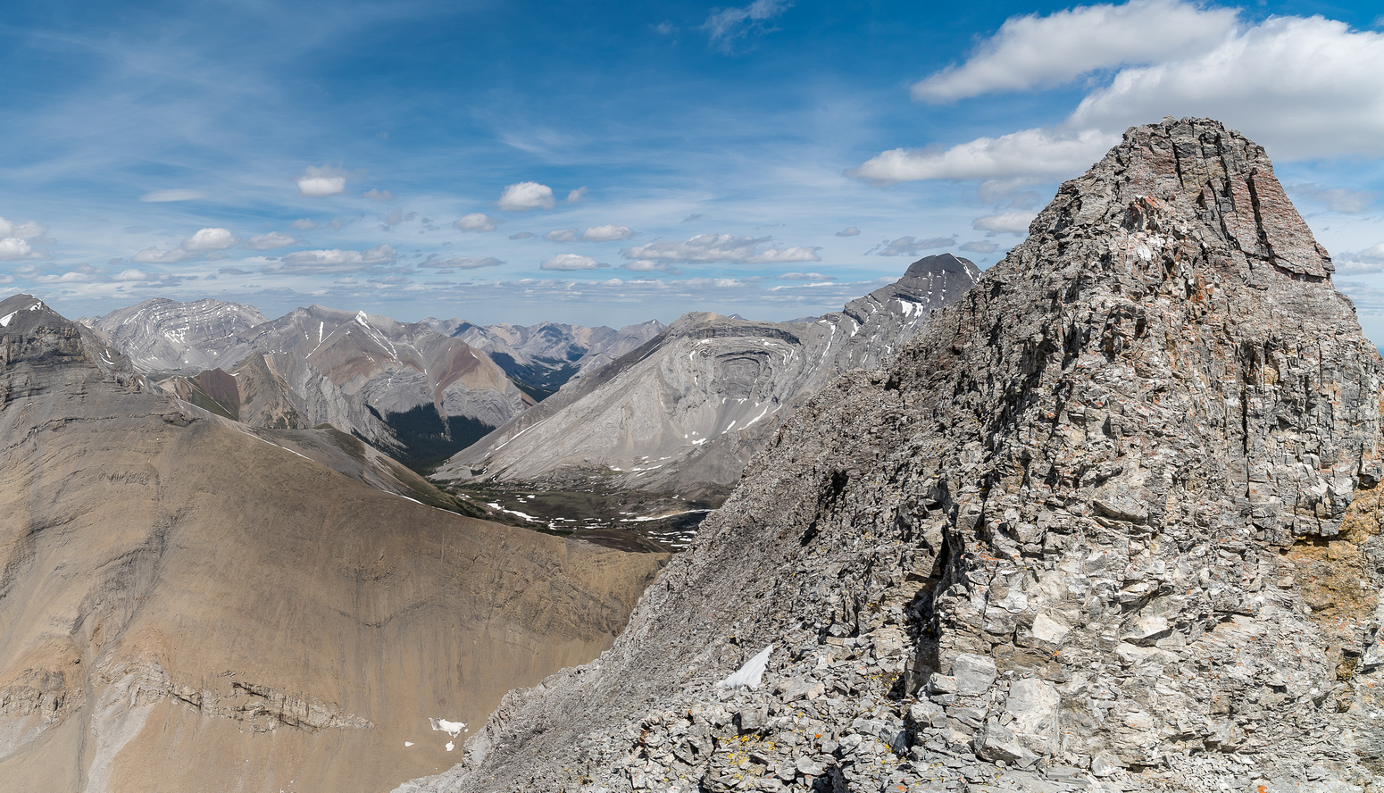 Some of the terrain on the short, difficult traverse between summits on the NE summit block of Astley