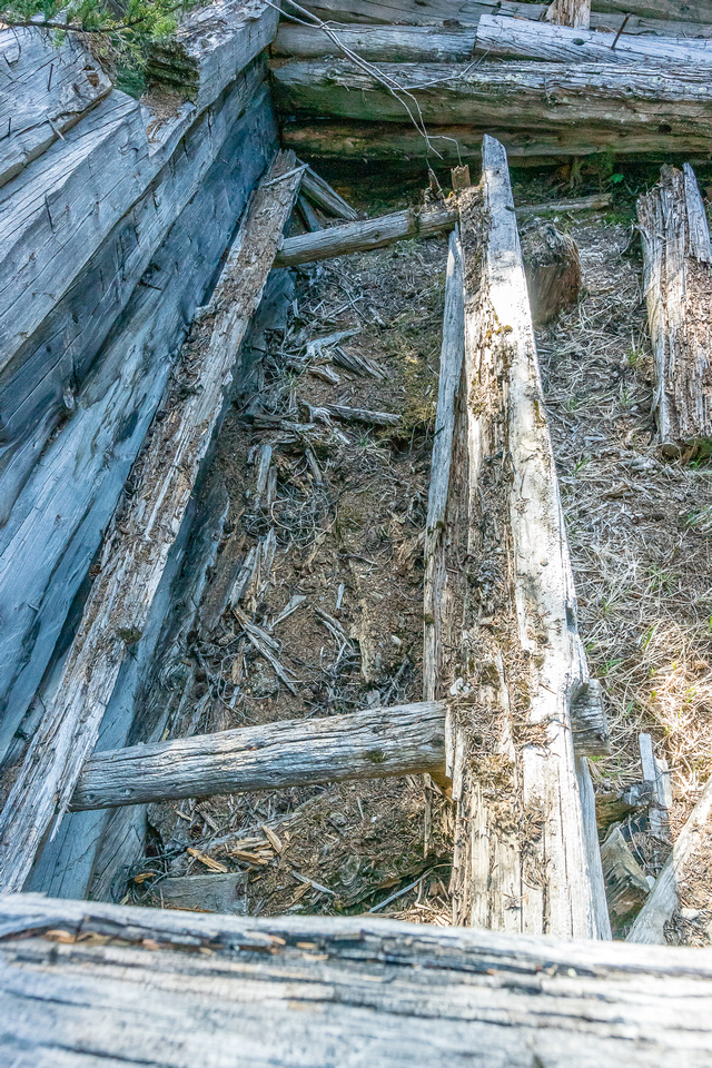 Even an old bed frame was visible in one of the cabins.