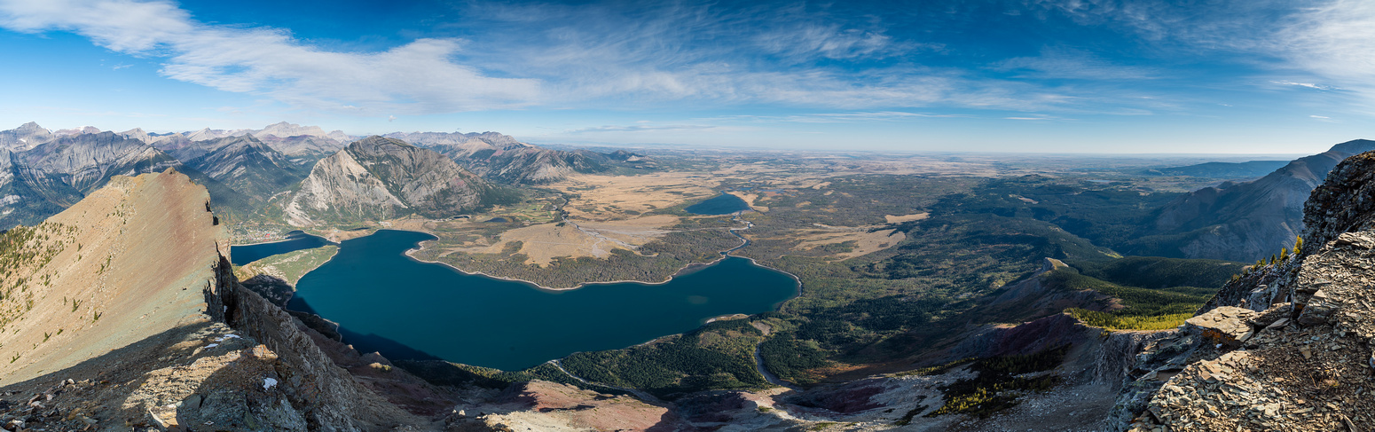 Views over Middle and Lower Waterton Lake to the prairies out of Waterton Park.