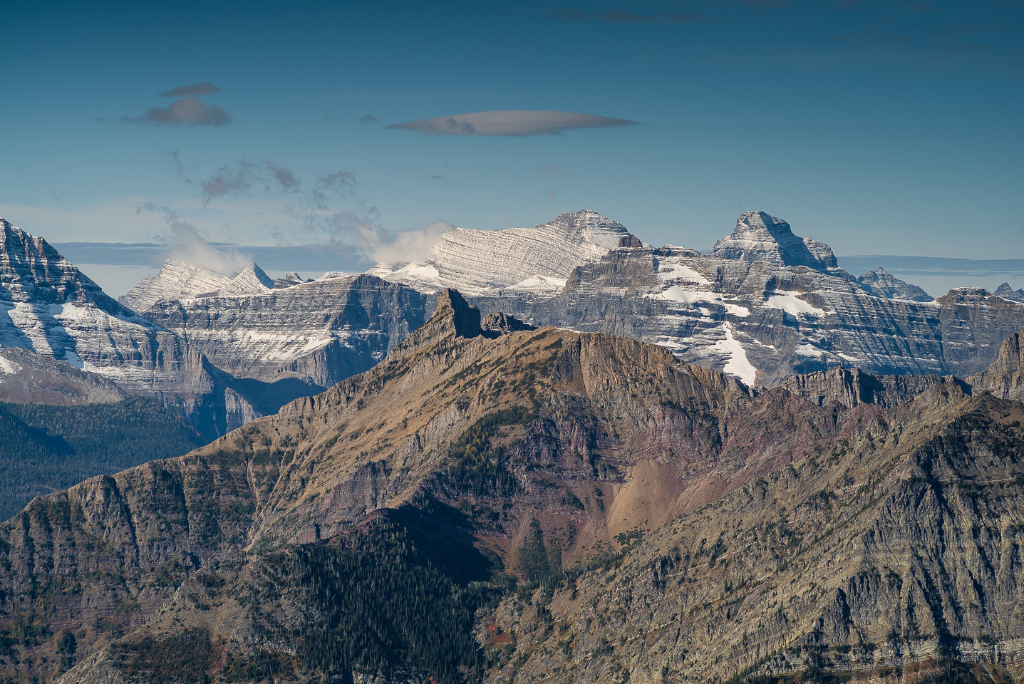 Peabody (L), Kintla (C) and Kinnerly rise over Mount Custer with Mount Richards in the fg.