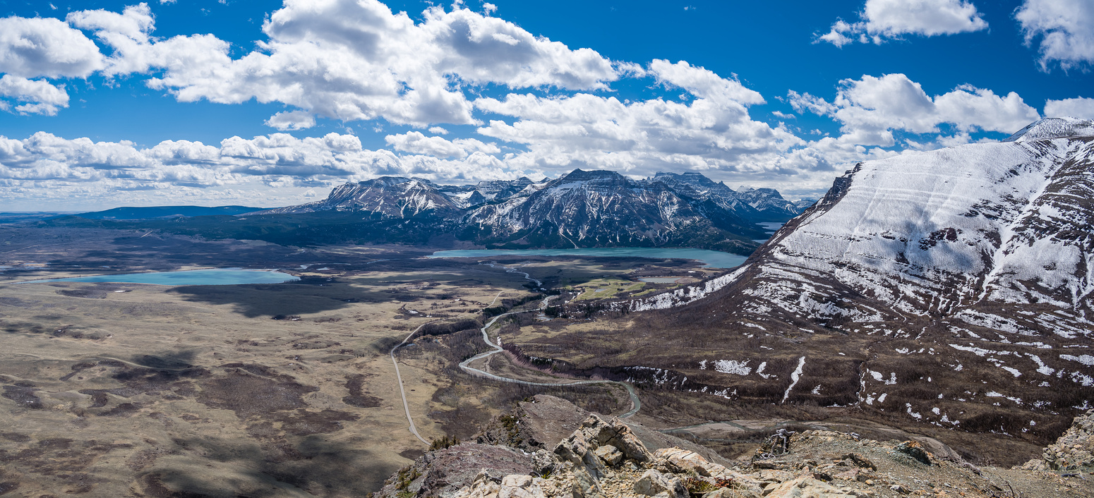 Views back to Lower and Middle Waterton Lake.