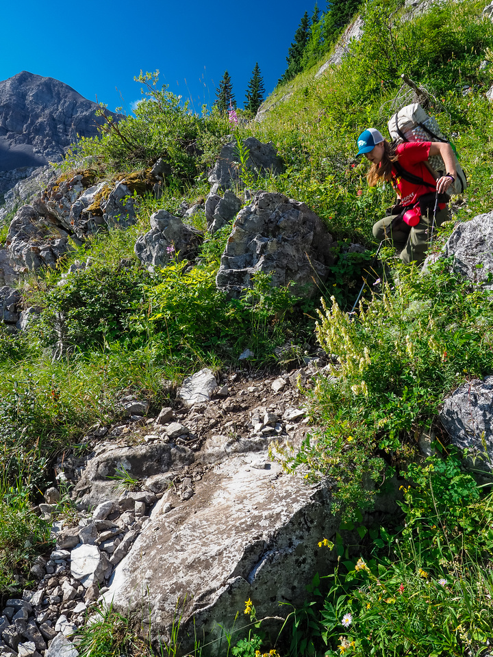 We continue to lose height along the trail below the headwall.