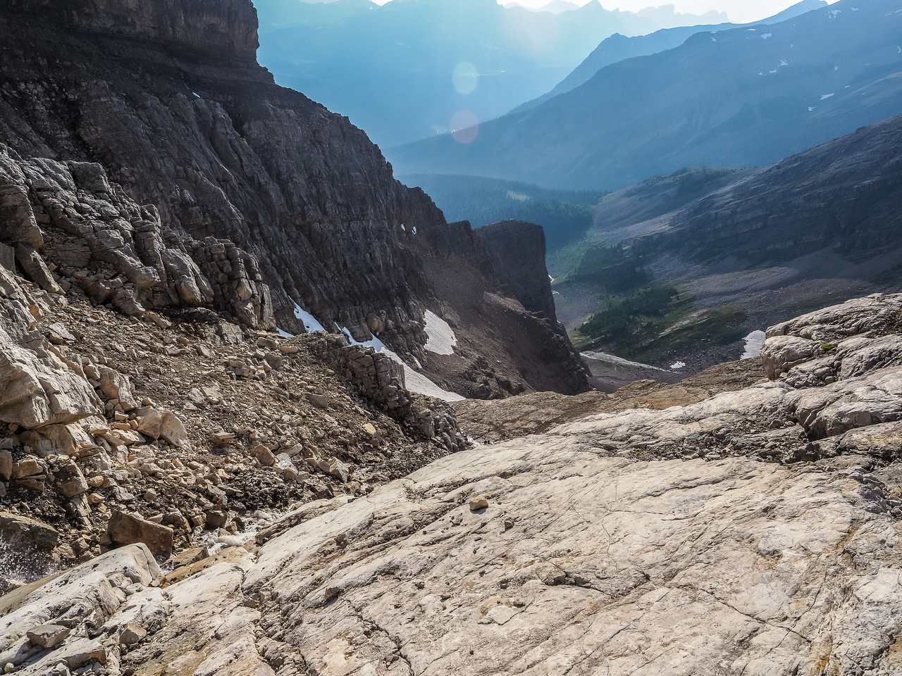 These slabs were tons of fun on ascent. On descent I chose the scree at left.