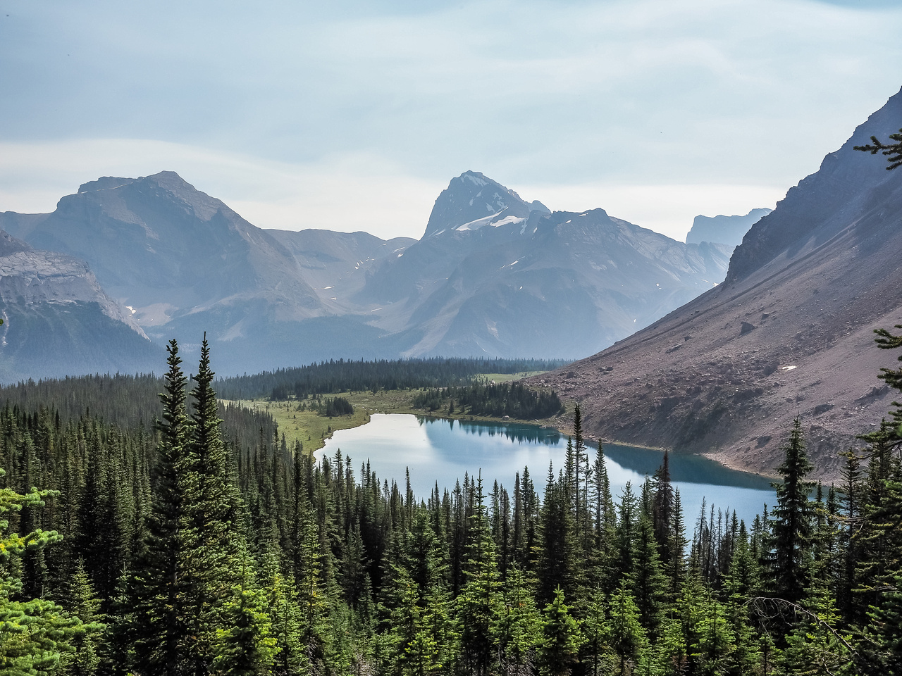 """Little (L) and """"Big"""" Cataract Peak rise across the Pipestone River Valley and over the larger of the Fish Lakes."""