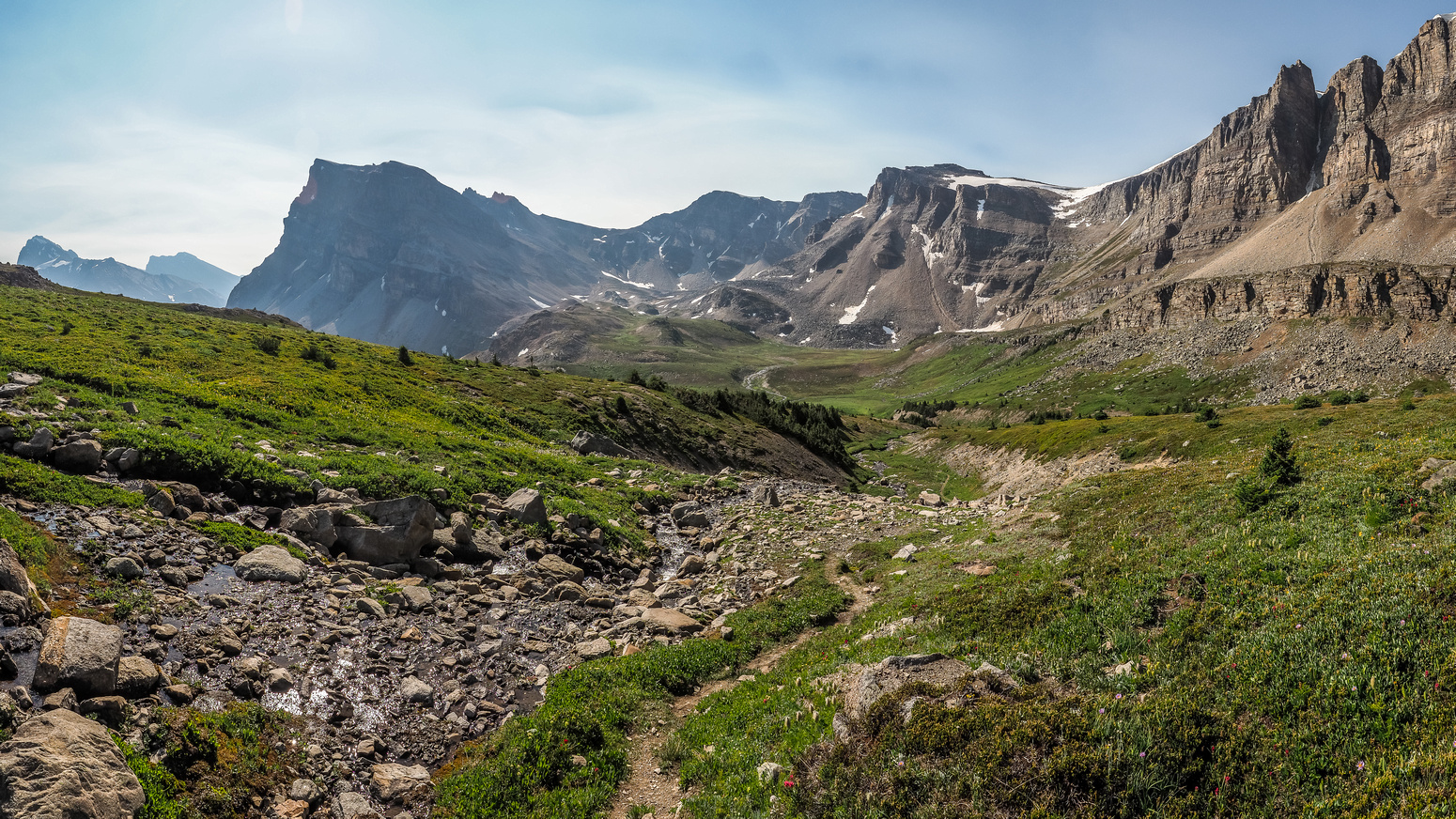 The trail continues to wind it's way down valley - Fish Lakes still out of sight at lower left here with Minnow Peak rising at left above them.