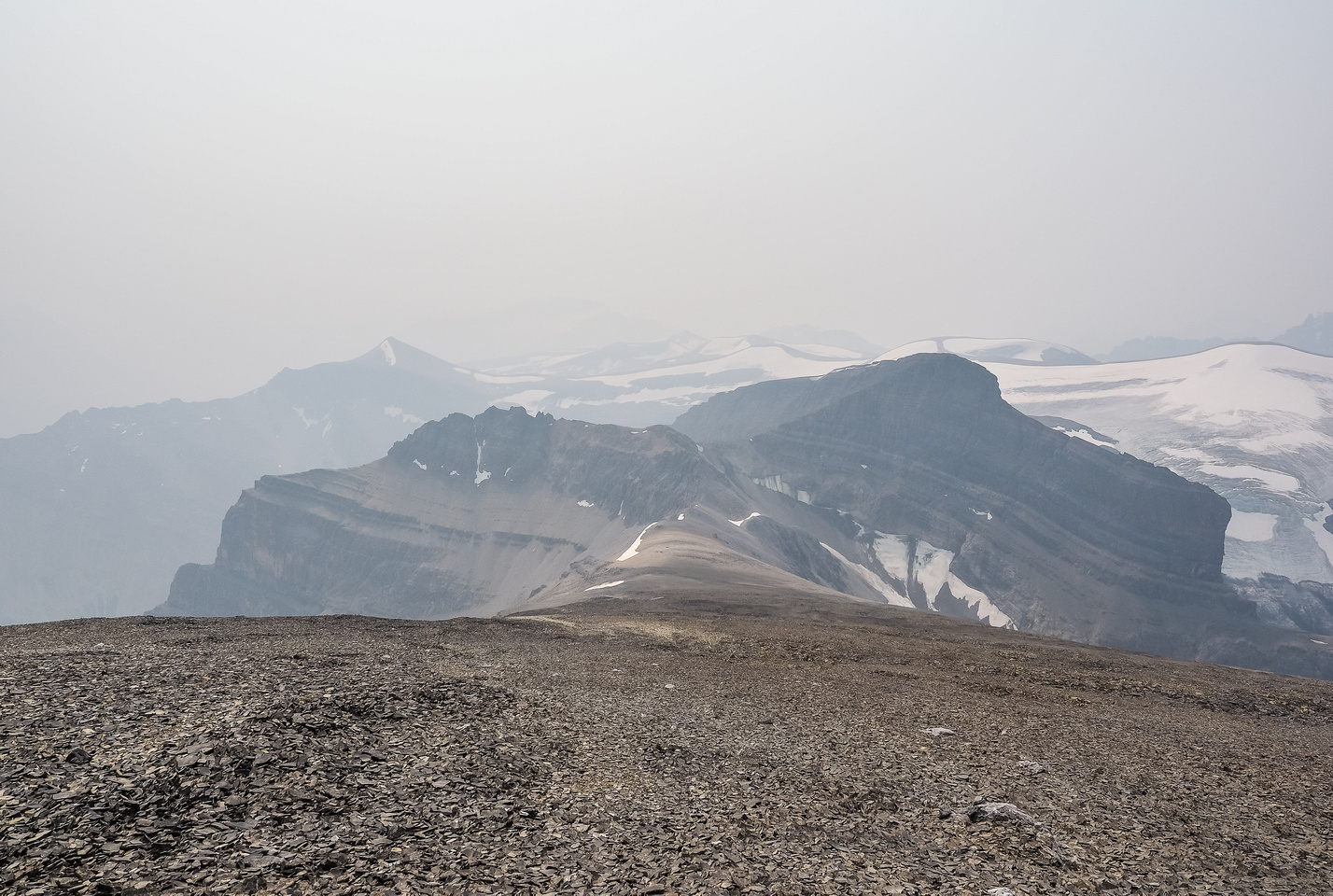 Looking back at Porcupine NE2 Peak, the glacier beyond and Conical just barely visible left of center.