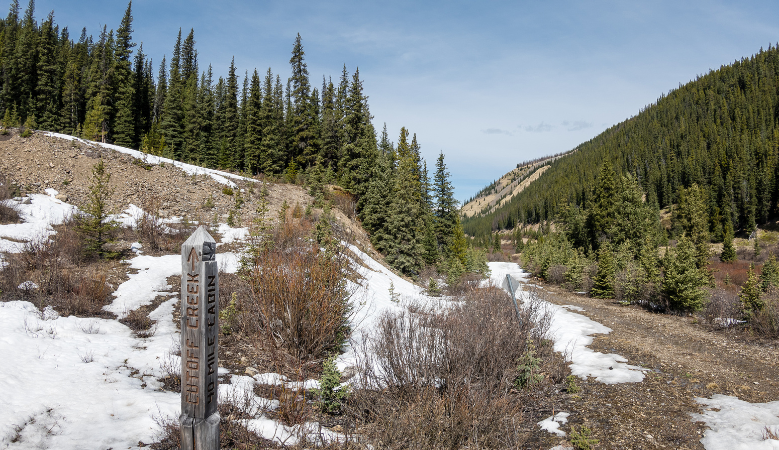"""""""CC9"""" to the headwaters of Scalp Creek at left. Cutoff Creek and the 40-mile cabin straight ahead."""