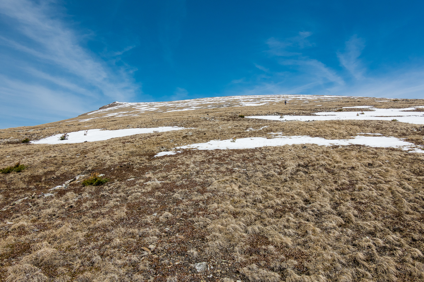 Not a ton of snow as we trudge up the endless south slopes of Scalp Peak.