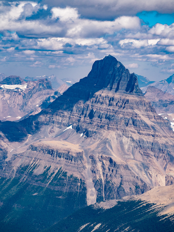 The awesome west face of Mount Alberta has only been successfully climbed once.