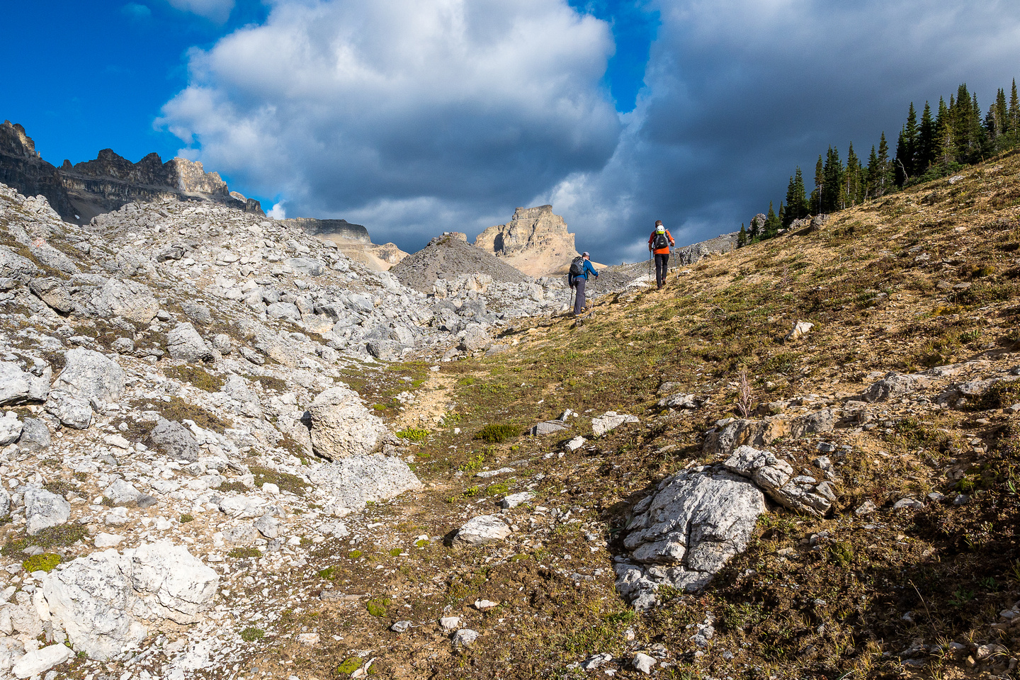 Breaking into the hanging valley - the NE peak of Dolomite at center.