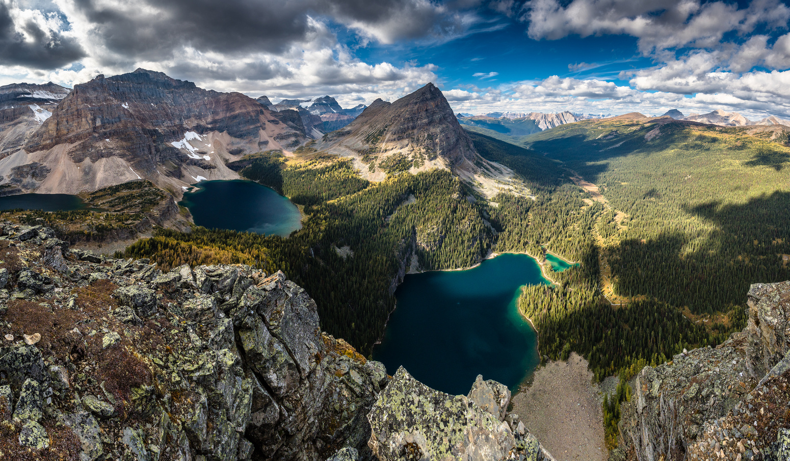 An interesting angle from the top of Sugarloaf's north face looking down at Egypt Lake with Scarab Lake at left and even part of Mummy Lake at far left.