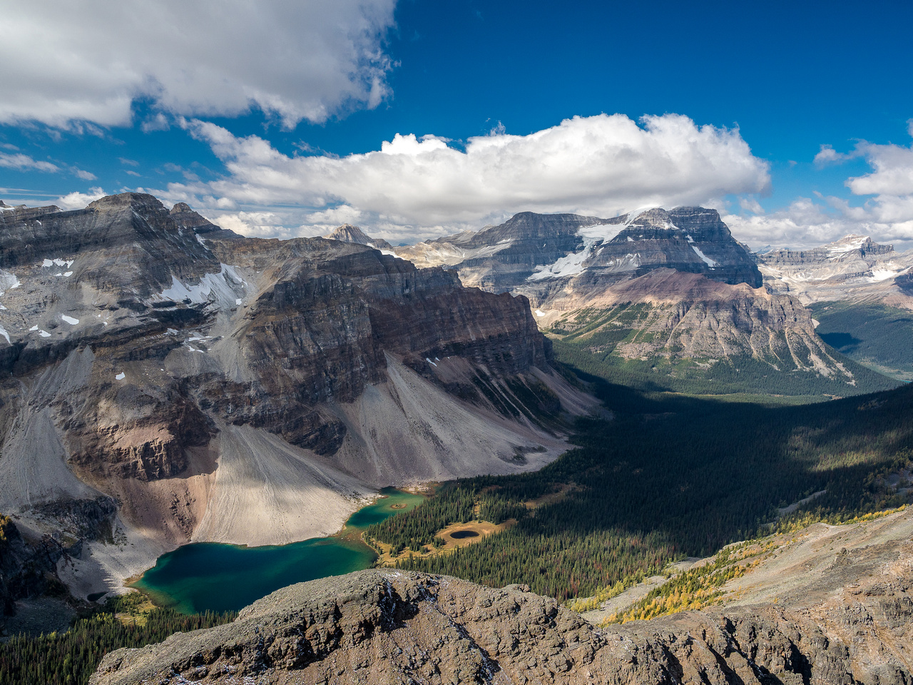 I had to traverse the summit block a bit to get Haiduk Lake on the shot. Mount Ball at right.