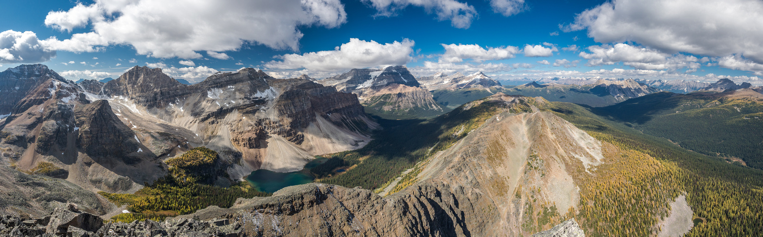 Looking over Haiduk Lake with Haiduk Peak at left, Mount Ball at center, Storm Mountain at center and Copper and Pilot mountains at distant right.
