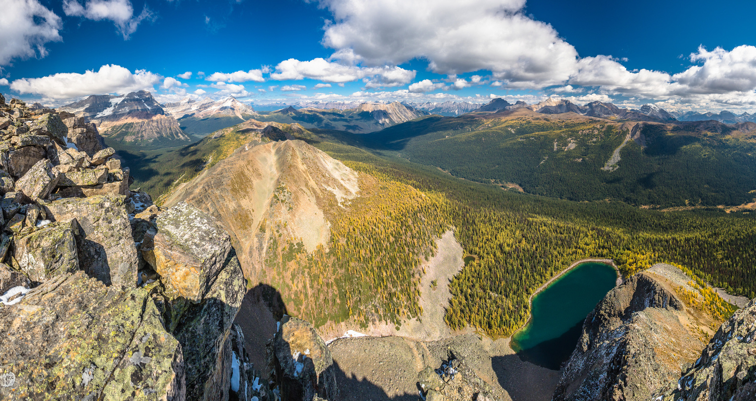 Black Rock Lake sits below the peak in this view looking north down the Pharaoh (R) and Redearth (L) Creek valleys.