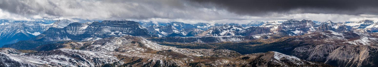 Looking west over the Sunshine Meadows towards The Monarch, Twin Cairns, Ramparts, Healy Pass, Haiduk, Sugarloaf, Healy Pass Peak, Greater and Lesser Pharaoh Peaks, Mount Ball (L to R).