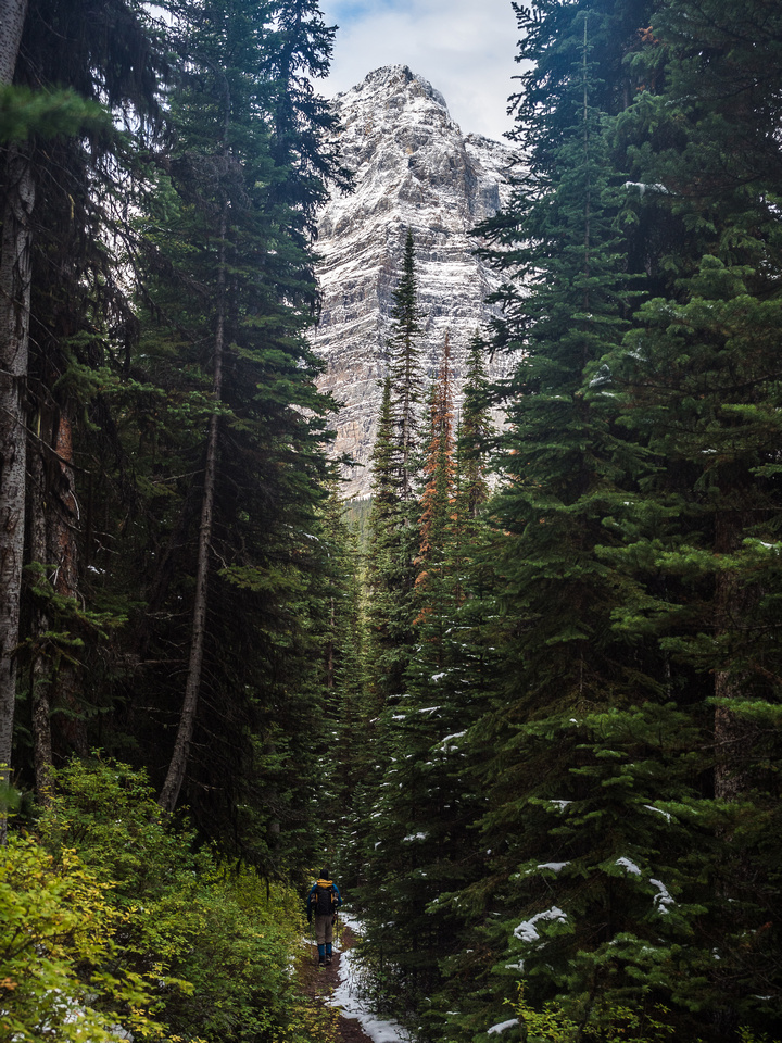 Wietse enjoys the morning solitude of the trail to Linda Lake with Odaray Mountain's impressive north face rising above.