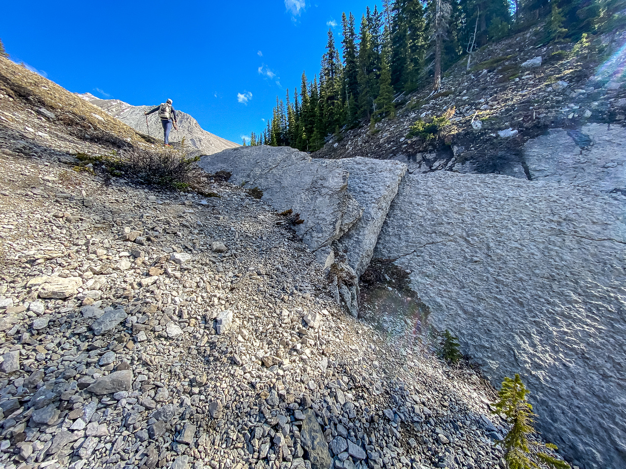 Hiking up the south drainage to the SE bowl.