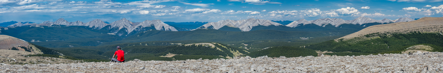 Enjoying a break with views from Kista (L) to Sufi, Onion Peak and Falls Lookout (R).