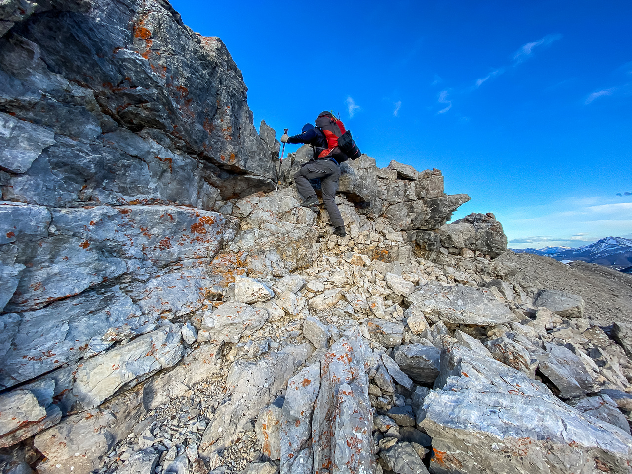 Some easy scrambling to the summit.