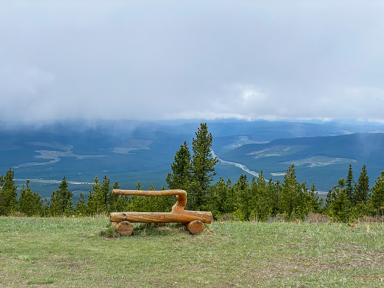 A bench at the top.