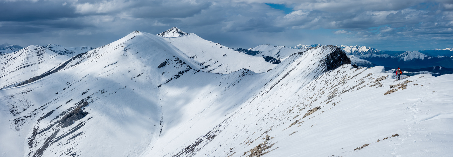 The long, slow, snowy traverse to the summit of Canary Peak.