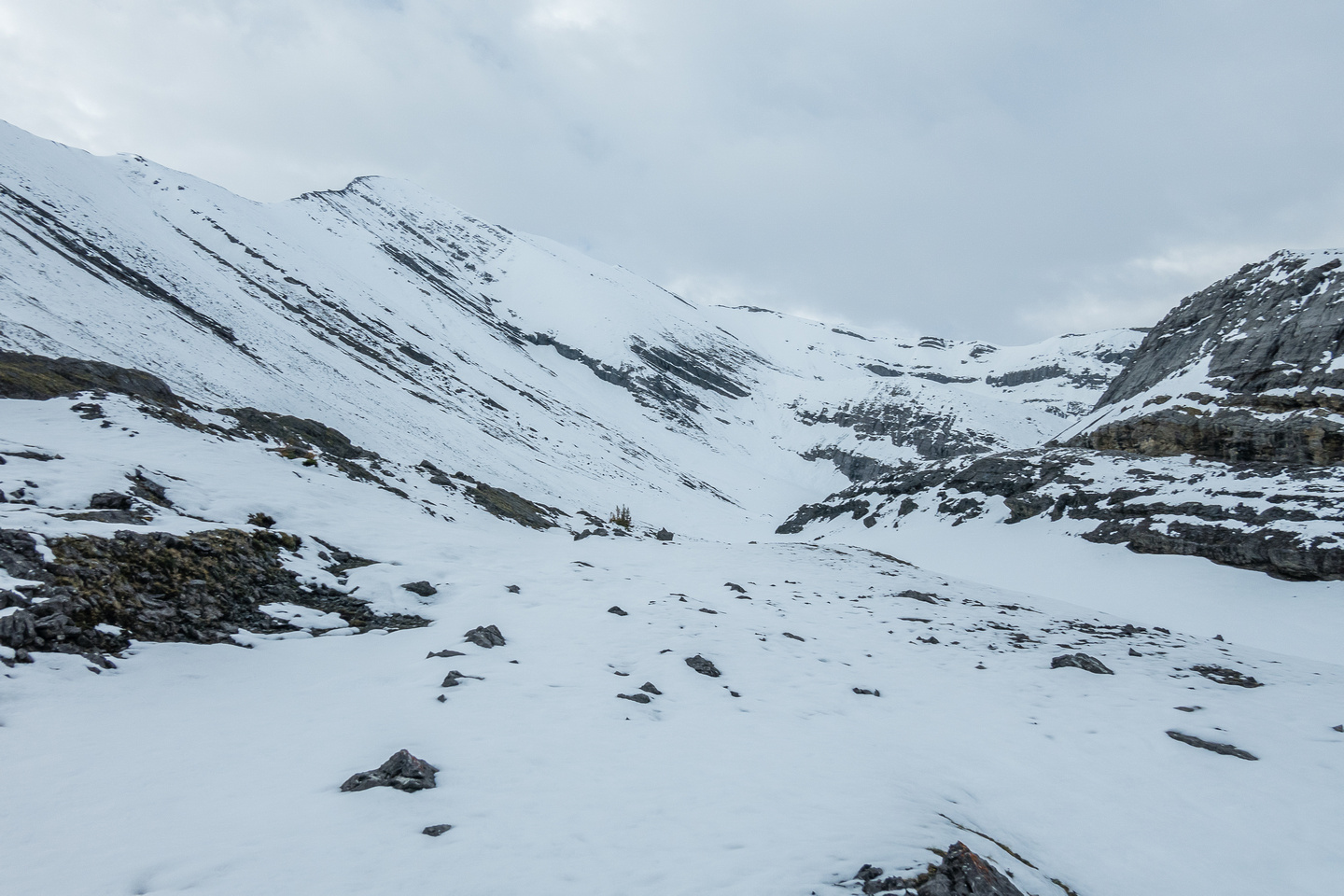 Continuing up snow and rubble to the south end of NW valley.