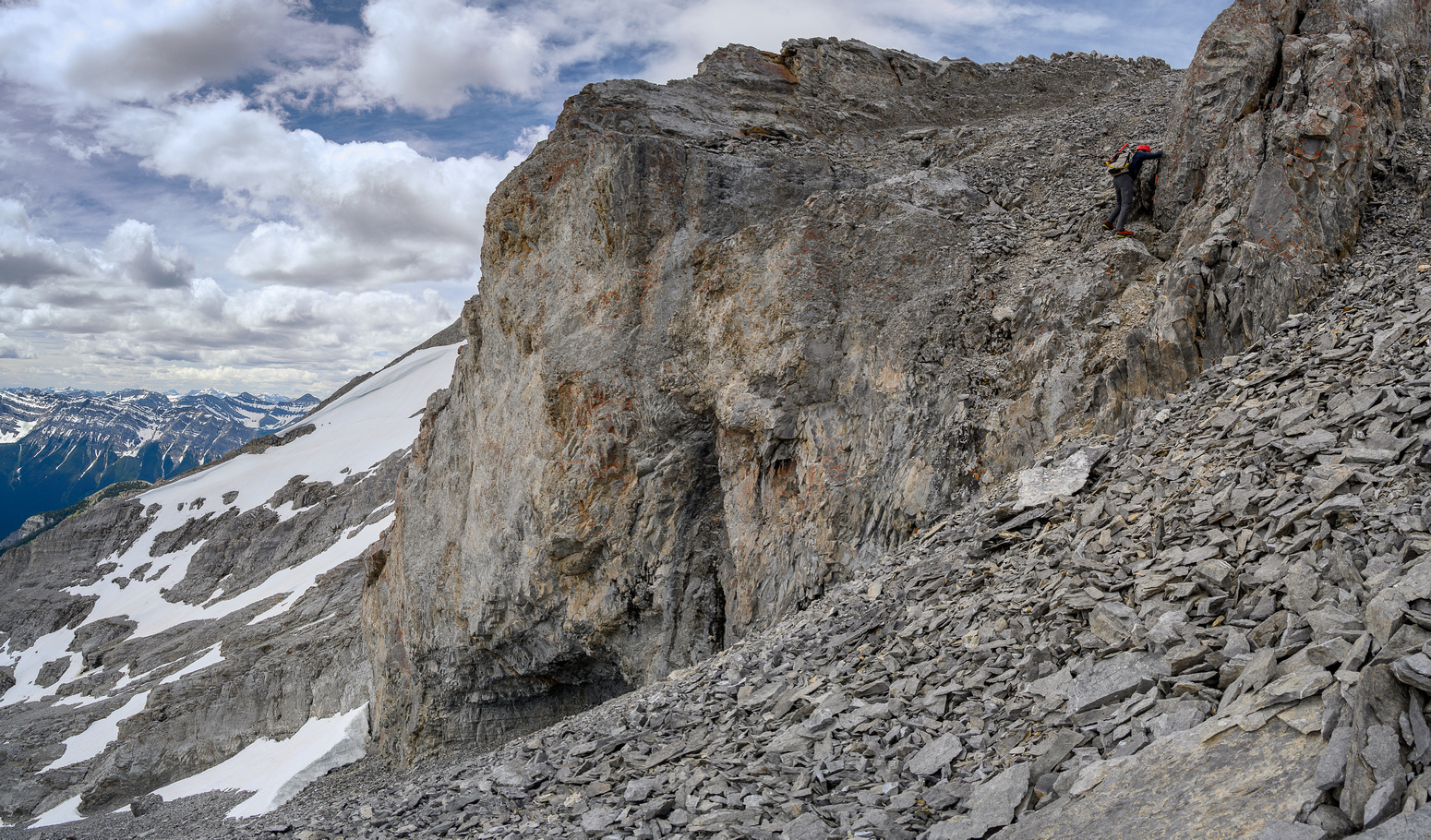 Descending the tricky (and loose) SE ridge.