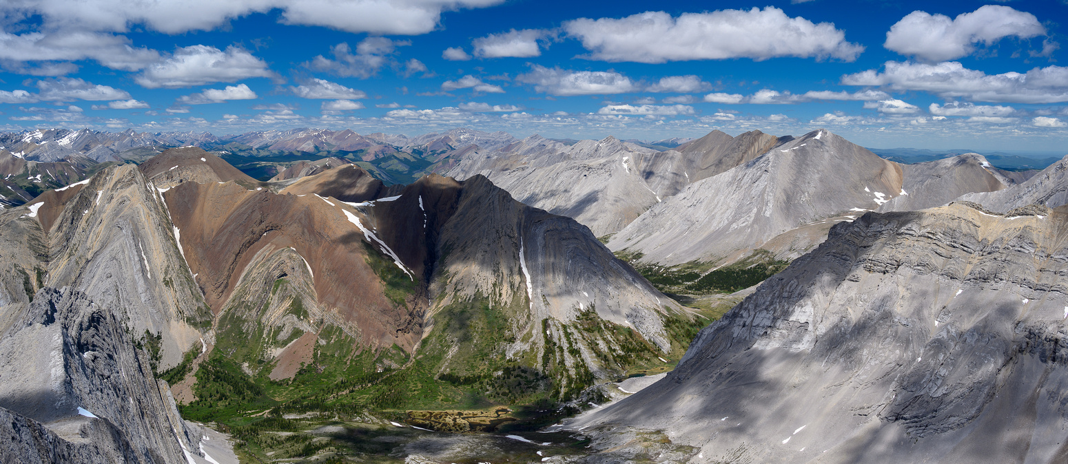 The Dormer Headwaters Trail runs through our exit valley below. Centerblock Peak at left.