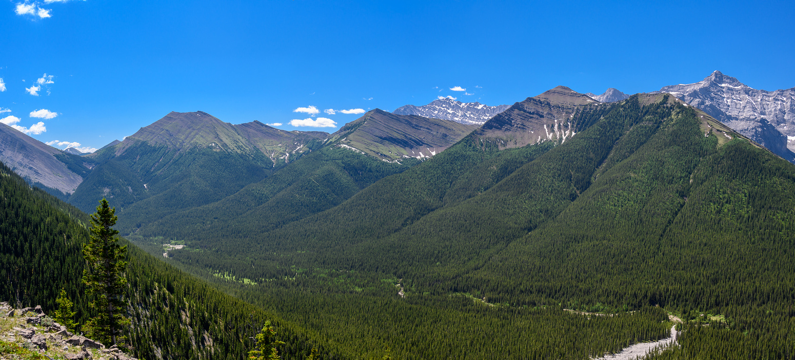 The gorgeous Sheep River valley / Burns property and Harry Denning's cabin (R).