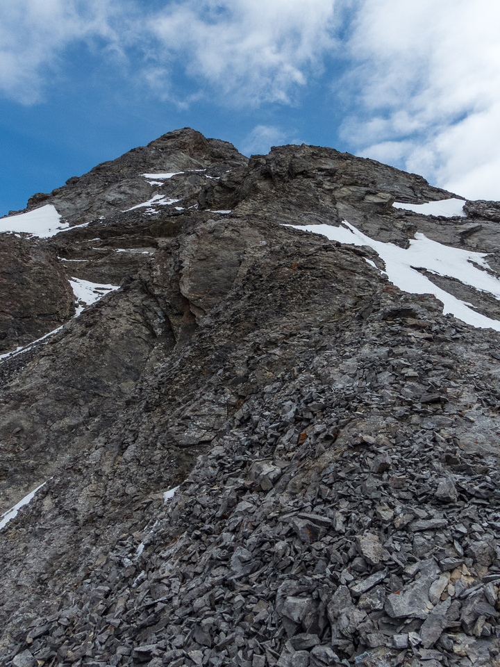 Looking up the moderate / difficult scrambling portion of the ridge to the summit.