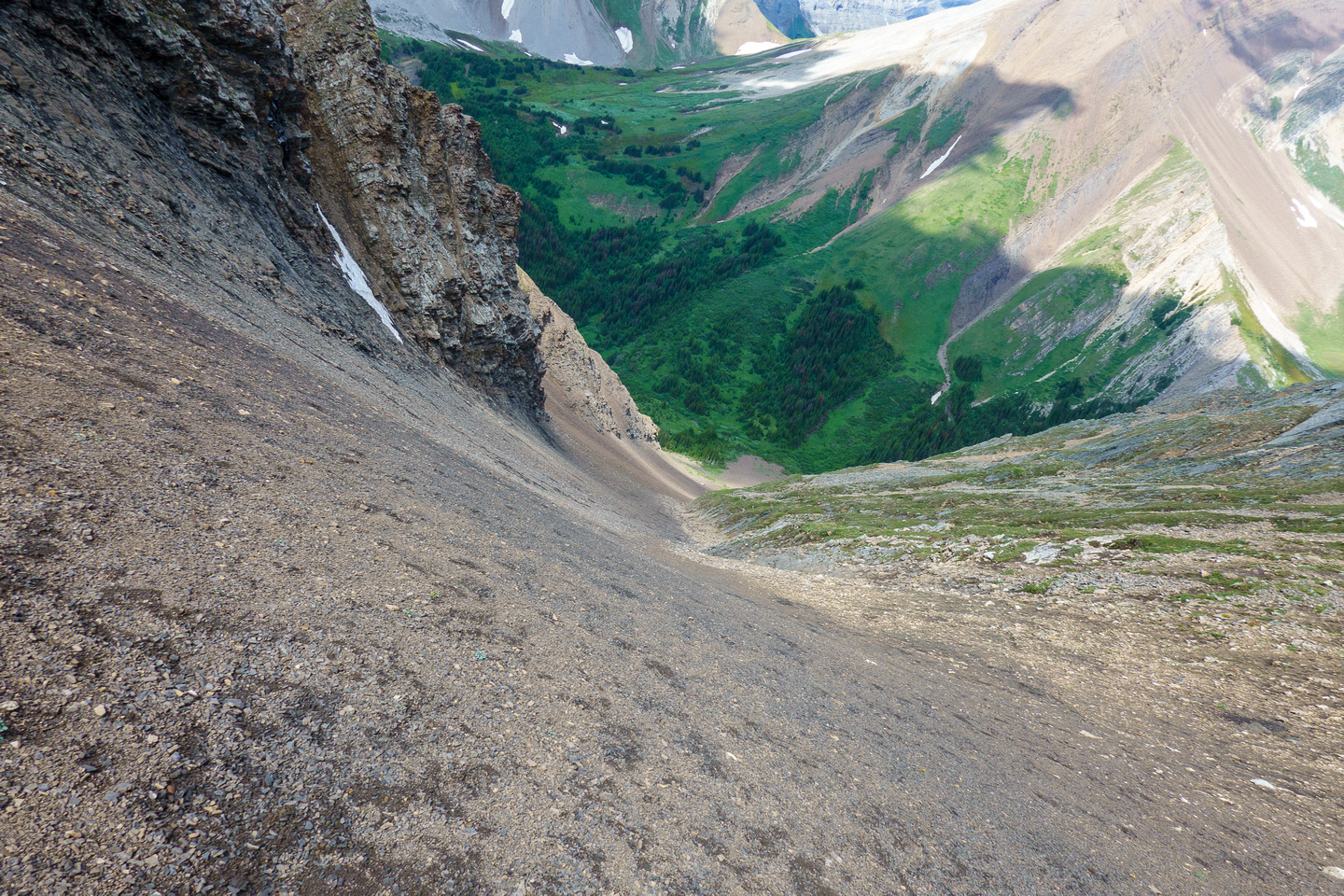 Descending to the valley on easy scree.