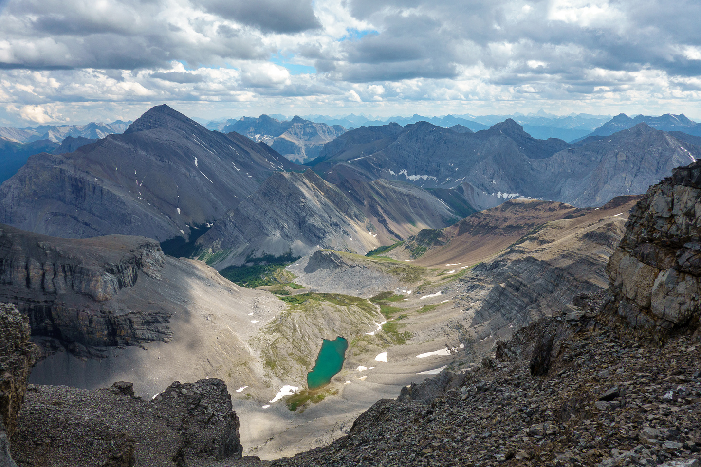The lower Spectral Lake and Mount Aylmer.