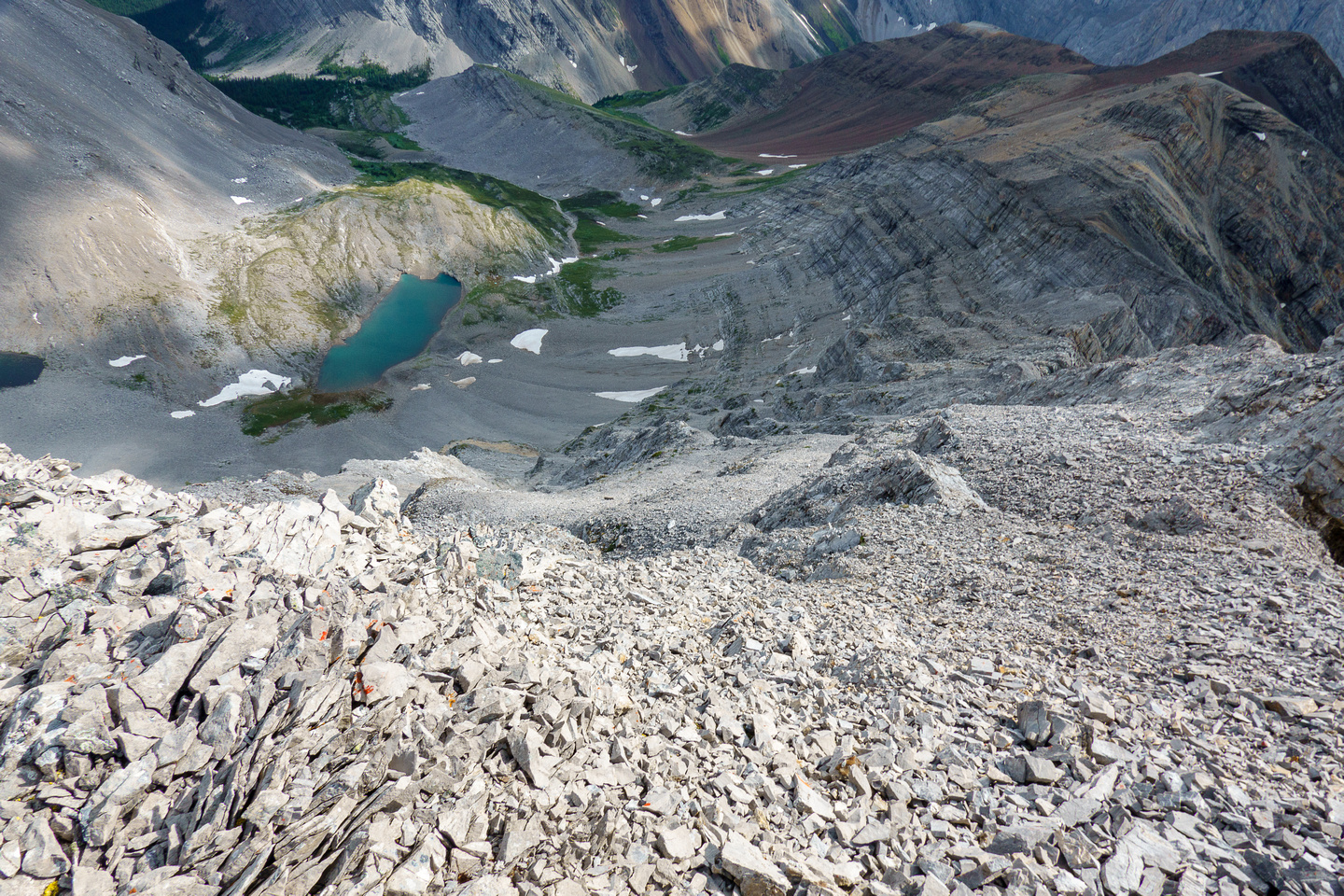 The series of ledges and runs down the east face to lower Spectral Lake.