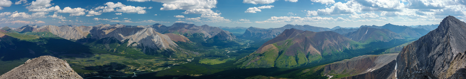 Divide Pass at left, the Red Deer River at center and Snow Creek Summit at right.