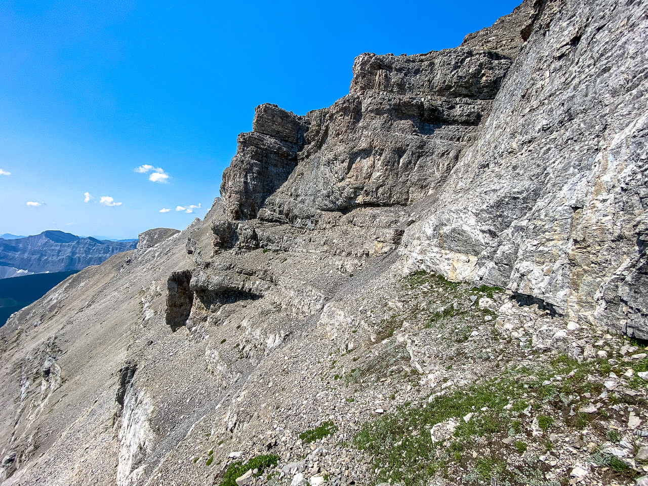 The upper crux at mid photo rising to right.