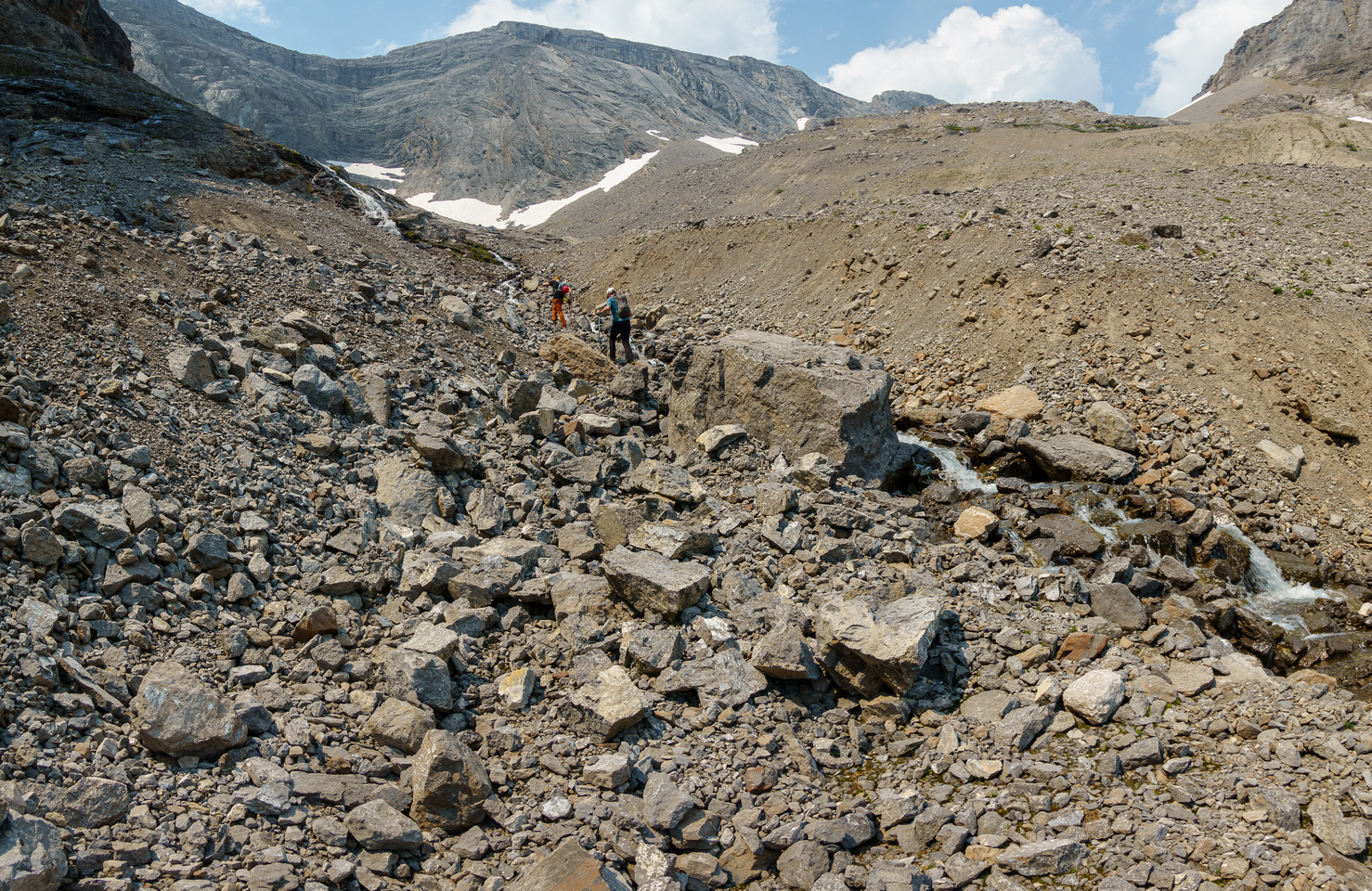 Hiking up the Cone Mountain access drainage.