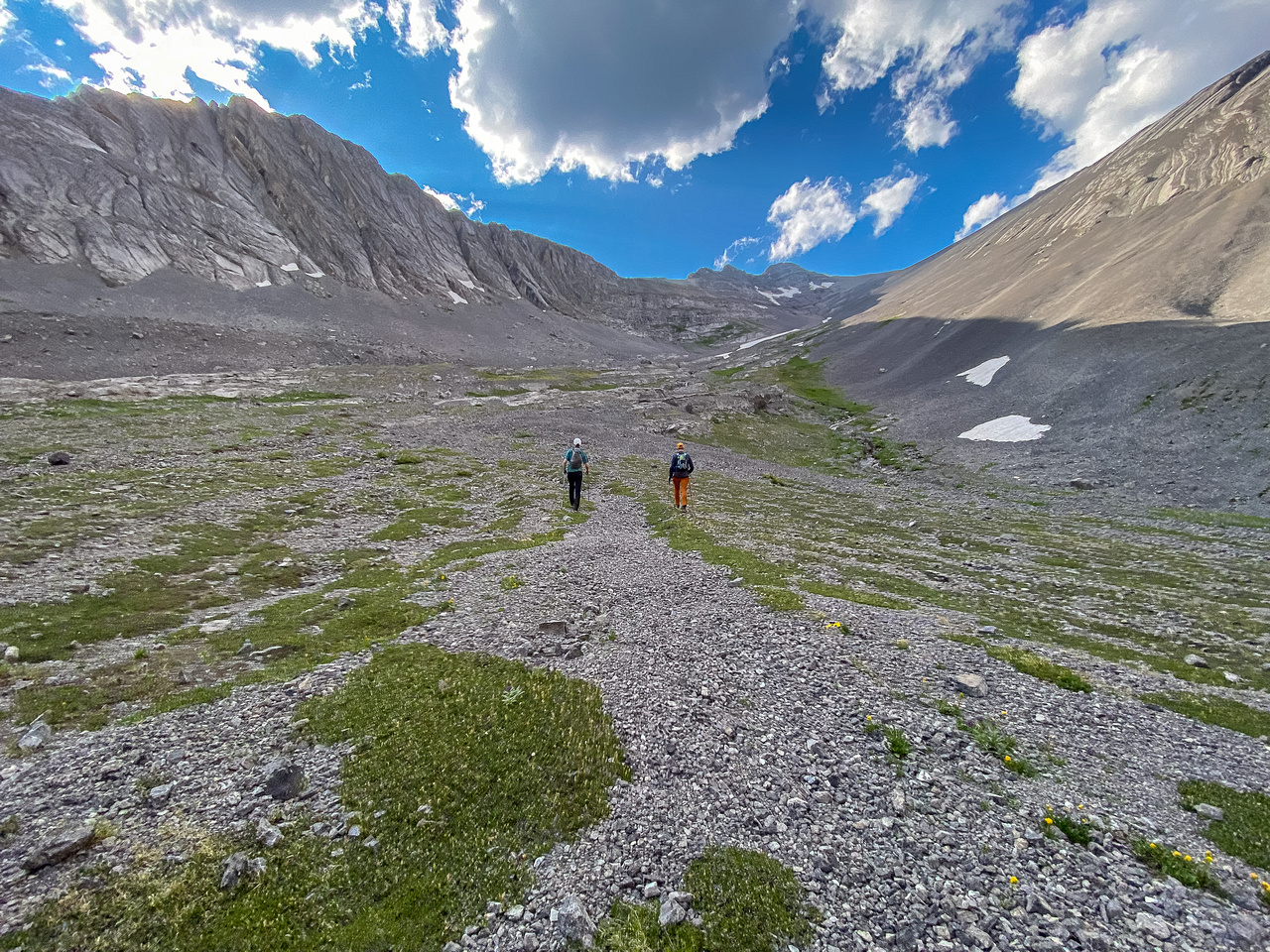 Hiking up the lower SE slopes of Mount Turbulent above the upper lake.