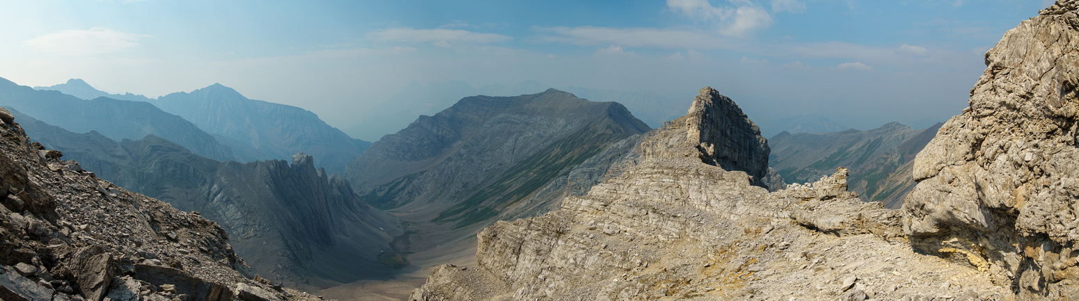 At the col, looking back at my approach route and the west ridge.