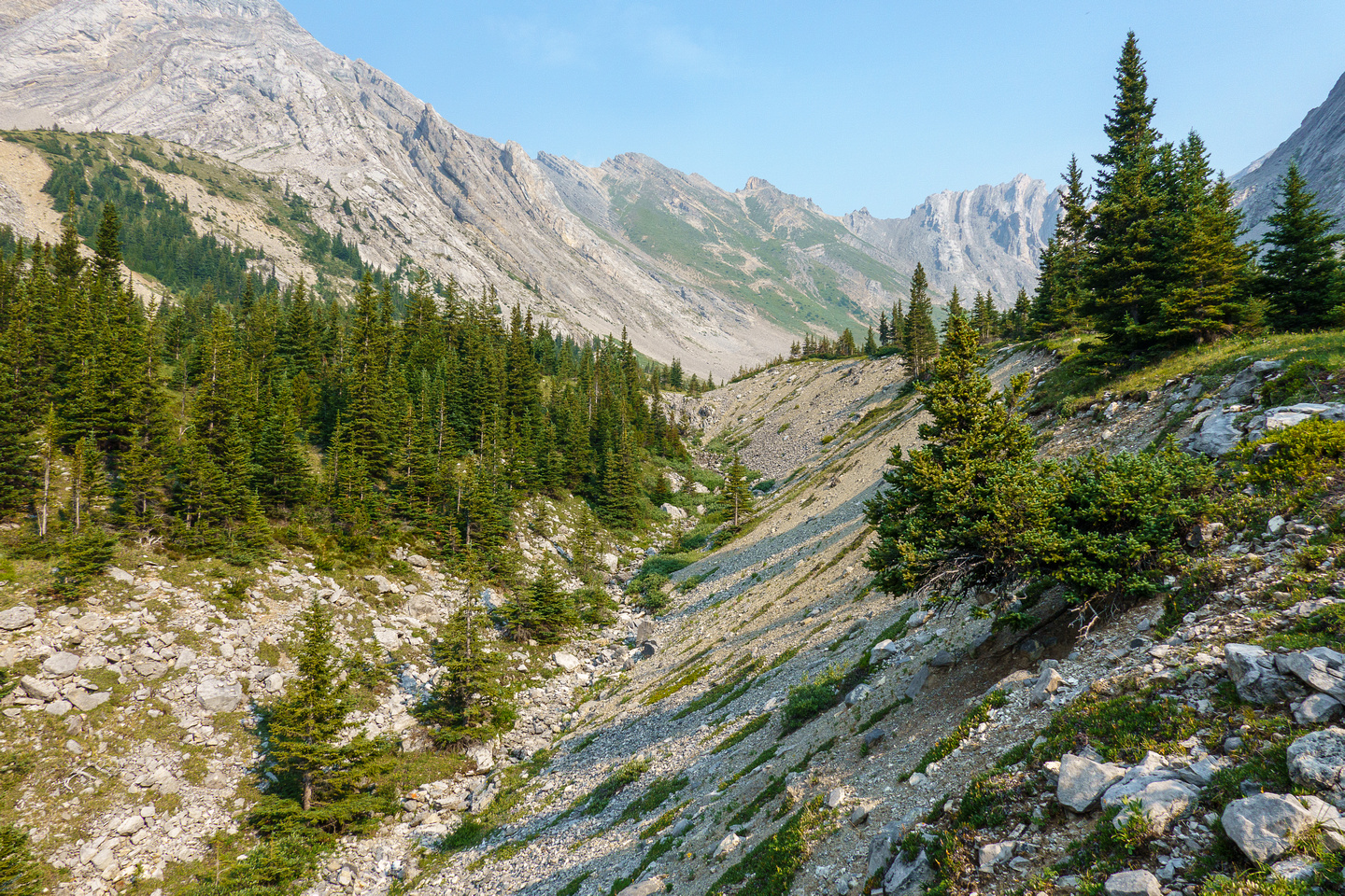 Hiking up the north branch of the upper access creek.