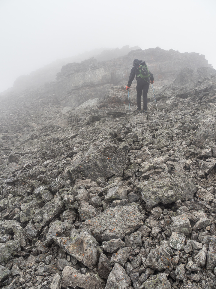 Approaching the first false summit.