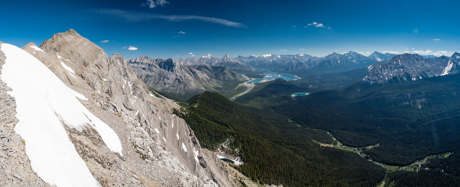 Views off the south ridge as we head for the summit aren't too shabby! Spray Lakes and Watridge Lake at center.